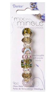 DARICE Mix and Mingle Glass Metal Lined Beads - Green & Mauve - 9pcs #Darice #Assorted