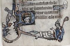 Up before the bishop. A hare looks on. 13th century psalter.