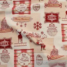 Stoff Baumwolle Polyester Gobelin Weihnachtsmann von Stoff am Stück auf DaWanda.com