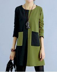 Casual Scoop Neck Long Sleeve Color Block Slimming Dress For Women