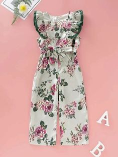 To find out about the Toddler Girls Floral Print Ruffle Piping Trim Belted Jumpsuit at SHEIN, part of our latest Toddler Girl Jumpsuits ready to shop online today! Romper Pattern, Jumpsuit Pattern, Jumpsuits For Girls, Girls Rompers, Pop Fashion, Girl Fashion, Fashion Outfits, Nice Dresses, Girls Dresses
