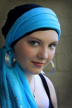 Black Rayon Challis turban hat is paired with Turquoise silver studded scarf. Versatile head wrap for chemo, alopecia or just a bad hair day.