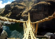 THE LAST HANDWOVEN BRIDGE Keshwa chaca, the last handwoven Incan bridge, crosses Apurimac Canyon in Peru. This is the only remaining example of the Incan handwoven bridges once common in the Incan road system. Photo by Dylan Thuras/Atlas Obscura Scary Bridges, Rope Bridge, Atlas, Suspension Bridge, Inca, New Travel, Future Travel, South America, Latin America