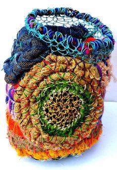 "© Maritza Noa-Cabrera, ""Gratitude I"" Mixed media. Textile Sculpture, Textile Fiber Art, Wire Weaving, Basket Weaving, Contemporary Baskets, Found Object Art, Art Bag, Fabric Yarn, Recycled Art"