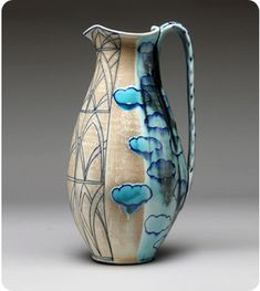 Julia Galloway - Searching for Skyline  Pitcher  Porcelain Cone 6 Soda Fire