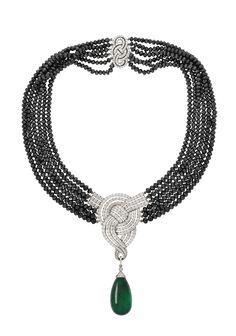 via By Sasha - Garrard Diamond and Emerald Necklace