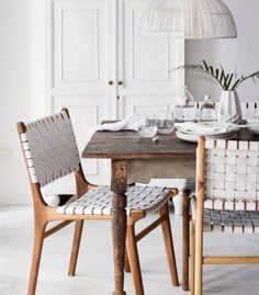 Image result for leather weave wood chair