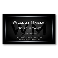 Classy Black Framed Monogram Professional Double-Sided Standard Business Cards (Pack Of This great business card design is available for customization. All text style, colors, sizes can be modified to fit your needs. Just click the image to learn more! Lawyer Business Card, Black Business Card, Cool Business Cards, Custom Business Cards, Professional Business Cards, Business Card Design, Green Business, High Quality Business Cards, Real Estate Business Cards