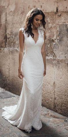 Louvienne Wedding Dresses Collection 2019 Wedding Dresses Guide is part of Wedding dress guide - Bridal Gowns Wedding Dress Chiffon, Rustic Wedding Dresses, Boho Wedding, Bridal Dresses, Wedding Gowns, Bridesmaid Dresses, Mermaid Wedding, Sheath Wedding Dresses, Party Dresses