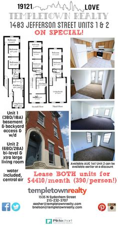 1403 Jefferson Units Ba 4410 Month Schedule A Tour  Templetown Realty  C2 B7 Apartments And Houses For Rent At Temple University