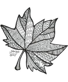 Free printable fall leaf coloring page Doodle Art Drawing, Zentangle Drawings, Mandala Drawing, Art Drawings Sketches, Drawing Ideas, Leaf Coloring Page, Fall Coloring Pages, Coloring Books, Coloring Sheets
