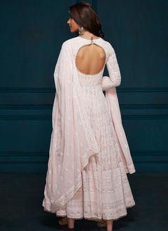Light Pink Thread Embroidered Anarkali - - Light Pink Thread Embroidered Anarkali – Lashkaraa Source by Lekhaa Kurta Designs, Kurti Designs Party Wear, Lehenga Designs, Indian Gowns Dresses, Indian Fashion Dresses, Dress Indian Style, Flapper Dresses, Designer Anarkali Dresses, Designer Dresses