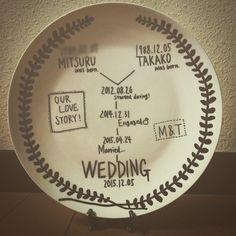 . . OUR LOVE STORY . もともと食器が大好きで 北欧食器集めたりしてるので、 . お皿で作ってみました。 . . らくやきマーカーで焼き付けました! 売り切れで困っていたら プレ花嫁仲間の@shi_chan1122wd しーちゃんが教えてくれた(;ω;)♡ しーちゃんほんとにほんとに ありがとー(´,,•ω•,,`)! . . 100均のお皿だから、 材料費も安上がり笑 . でも、ちゃんと転写とかしてすればよかった_(:3 」∠)_ 手書き感やばい_(:3 」∠)_笑 気が向いたら作り直します_(:3 」∠)_ . . #結婚式準備#プレ花嫁#結婚準備#結婚式#花嫁#花嫁準備#ナチュラルウェディング#wedding#ウェディング