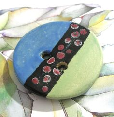 Tribal  Treasure  Handmade Ceramic Button  by UglyDucklingBeads