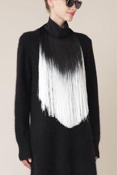 Ann Demeulemeester Fringe Collar (Black/White)