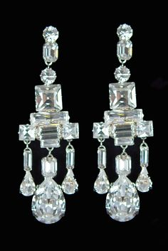 King George VI Chandelier Earrings - The long chandelier earrings ending with three drops were a wedding gift to Princess Elizabeth in 1947 from King George and Queen Elizabeth, but it was not until she had her ears pierced that she could wear them.