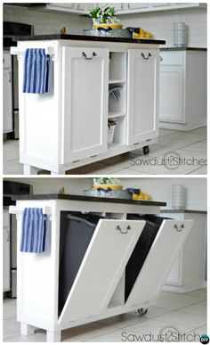 DIY Cabinet Kitchen Island with Tilt Out Trash Can-Smart Ways to Hide Your Trash Can #Kitchen.