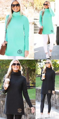 This fleece tunic will be your go-to this fall and winter! Featuring a super soft fleece material, this turtleneck tunic is breathable with its loose stand-up collar and flattering silhouette! Available in mint or charcoal, these monogrammed tops are perfect for dressing up or dressing down. Pair this top with a stylish monogrammed tote and some monogrammed jewelry.