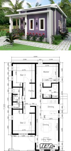 Small Home Plan with 3 Bedrooms - Cool House Concepts Small House Exteriors, Small Modern House Plans, Modern Small House Design, Small House Floor Plans, Sims House Plans, House Layout Plans, Simple House Design, Contemporary House Plans, New House Plans