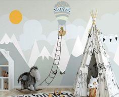 Sun Wallpaper, Colorful Wallpaper, Custom Wallpaper, Painted Wallpaper, Wallpaper Murals, Nursery Wallpaper, Nature Wallpaper, Balloon Wall, Hot Air Balloon