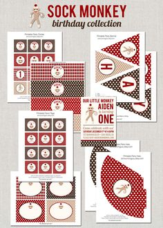 Printable Sock Monkey Birthday Collection DIY by announcingyou