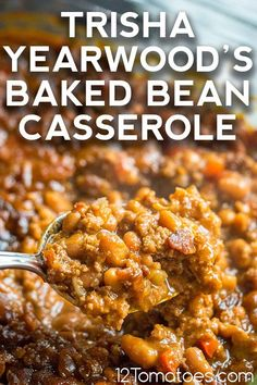 Baked Bean Casserole, Casserole Recipes, Trisha Yearwood Baked Beans, Main Dishes, Side Dishes, Spinach Recipes, Bean Recipes, Easy Dinner Recipes, Hospitality