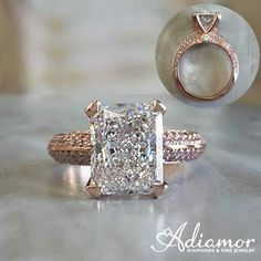 Ring #goals! What do you think about our custom #Adiamor #radiantcut #rosegold #engagementring with pink side stones?