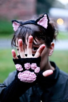 Cat Headband and Wrist Warmers