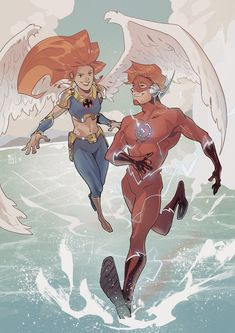 [Artwork] Hawkwoman and Flash by Jo Cheol-hong Marvel Heroes, Marvel Dc, Dc Comics Art, Flash Comics, Comic Art, Comic Books, Bird People, Wally West, Kid Flash