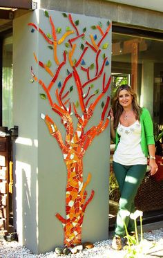 Mosaico - beautiful indoor tree mosaic for the wall! Gorgeous reds and orangeMosaico- I like the idea of partial mosaic outside.nice tree on a columnhmmm this is different. Mosaic Artwork, Mosaic Wall Art, Tile Art, Mosaic Glass, Mosaic Tiles, Glass Art, Mosaic Mirrors, Fused Glass, Stained Glass