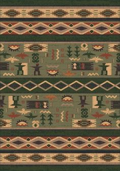 Wide Ruins, a southwestern style tribal rug, incorporates Navajo diamond design bands among varying solid color stripes. The main bands, which are the focus of the rug, are decorated with scattered and primitively drawn nature motifs. This item is made to order and usually ships in approximately 2 -3 weeks.