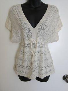 Knitted Knotted Anthropologie Cream White Silk Boho Crochet Hippie Tunic Top S   eBay $9.99