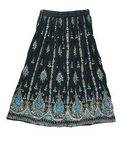 """Sequin Long Skirt Black Hand Work Floral Skirt For Women's 36"""""""