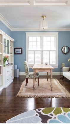 Wall color Santorini Blue by Benjamin Moore. Room designed by Liza Holder/Homegrown Decor seen on Houzz.