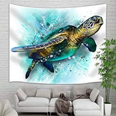 KOTOM Sea Animal Lover Tapestry Wall Hanging, Watercolor Brick Turtle Wall Tapestry Art, Tapestries Home Decorations TV Backdrop Dorm Decor Living Room Bedroom, Beach Towel, Beach Bedroom Decor, Tapestry Wall Hanging, Dorm Decorations, Tapestries, Beach Towel, Beach House, Turtle, Backdrops, Brick