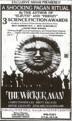 The Wicker Man newspaper ad Best Screenplay, Go To The Cinema, Wicker Man, Vhs Movie, Movie Prints, All Movies, Horror Films, Print Ads, Newspaper