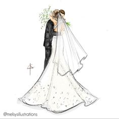 """Melsy's Illustrations ©️ on Instagram: """"TAG all of the wedding couples 💕 To all of the couples who have to postpone their wedding dates we are going to work with you on creating a…"""" Wedding Art, Wedding Couples, Wedding Cakes, Dream Wedding, Dream Illustration, Couple Illustration, Love Is Sweet, Going To Work, Lady In Red"""