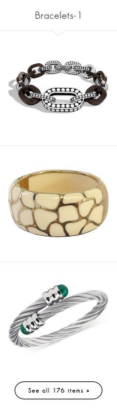 """Bracelets-1"" by missy-smallen ❤ liked on Polyvore featuring jewelry, bracelets, ebony, john hardy bangles, john hardy jewellery, wood carved jewelry, wooden jewelry, wood bangles, 18 karat gold bangles and gold jewellery"