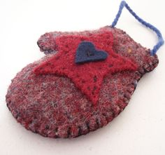 Mitten Ornament Upcycled Felted Wool Cranberry Gray Star and Heart. $8.00, via Etsy.
