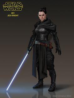 Rey - Jedi Knight (Fan Art), Albert Urmanov on ArtStation at https://www.artstation.com/artwork/XddWl