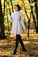 Palton dama gri cu fermoare argintii (MBG)