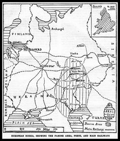 1921-Famine-Map showing the famine area surrounding the Volga German colonies in 1921.