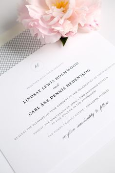 Vintage blush pink wedding invitations with a script monogram
