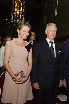 Queen Mathilde and King Philippe of Belgium during a concert in the church (Eglise Notre-Dame de la Cambre - Kerk Onze-Lieve-Vrouw Ter Kameren), to honor the new King Philippe in Brussels,  25 Sep 2013.
