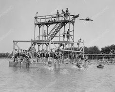 Leaping Divers Jump Off Diving Tower! 8x10 Reprint Of Old Photo