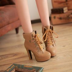 Lace Up Motorcycle Boots Platform High Heels Women 8582