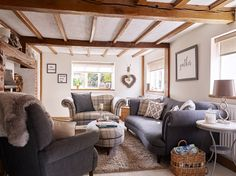 Old Forge Cottage Cottage Living Rooms, Coastal Living Rooms, Home Living Room, Living Room Decor, Rustic Home Interiors, Cottage Interiors, Rustic Cottage, Cottage Style, Farmhouse Style