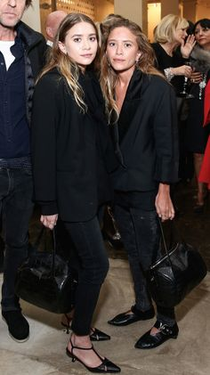 Olsens Anonymous Fashion Blog Mary Kate Ashley Olsen Twins Nonversation All Black Blazer Jackets Washed Out Jeans Kitten Heels Flats The Row Croc Bags