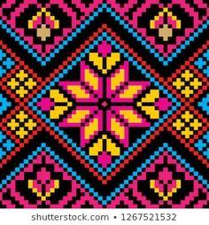 Toraja Design Seamless of Indonesian Style Embroidery Hoop Art, Cross Stitch Embroidery, Cross Stitch Patterns, Tapestry Crochet Patterns, Crochet Square Patterns, Paper Art Design, Mochila Crochet, Graph Paper Art, Pix Art