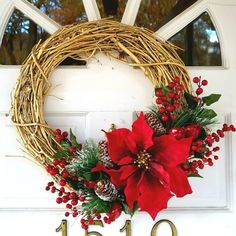 Christmas wreath gold grapevine poinsettias berries